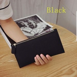 Slim Black Faux Suede Leather Wallet